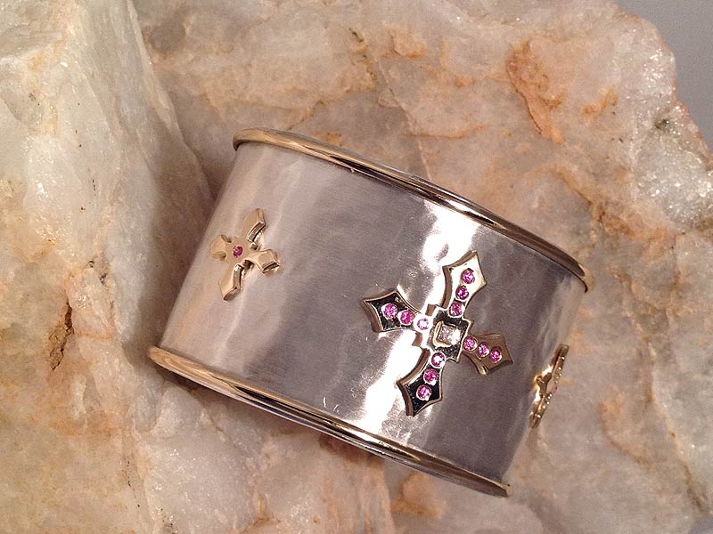 Sterling Silver & Gold Cross Cuff with Diamonds & Pink Sapphires
