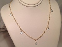 White Topaz Briolettes on Fancy Cable Chain