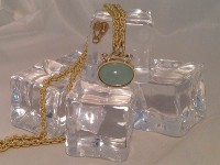 Aquamarine & Diamond Pendant on Hand Made Chain