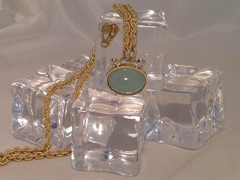 Aquamarine & Diamond Pendant on Hand Made Chain