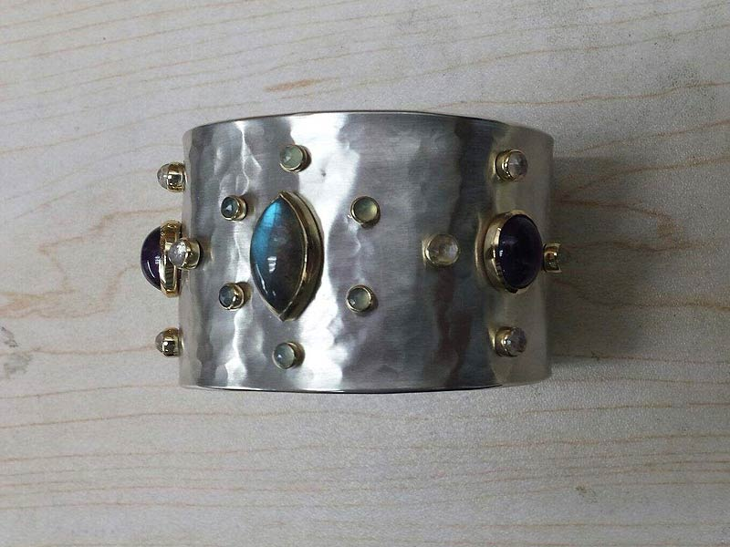 Gemstone Sterling Silver & 18K Yellow Gold Cuff