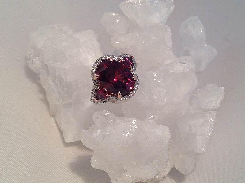3-Stone Rhodolite Garnet & Diamond Ring