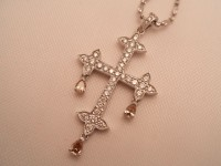 Diamond Cross with Champagne Diamond Dangles