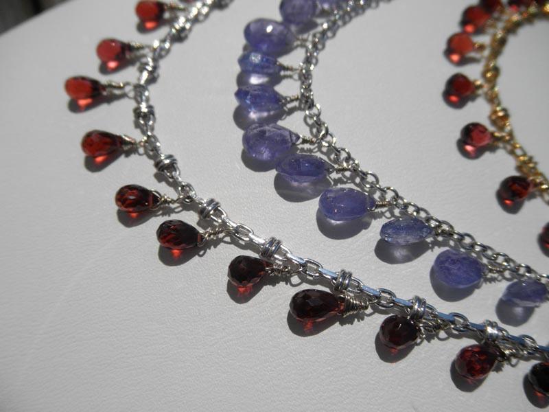 Gemstone Briolettes on Gold Chain