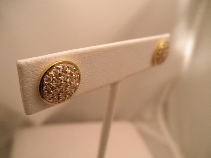 14K Yellow Gold Diamond Disc Earrings