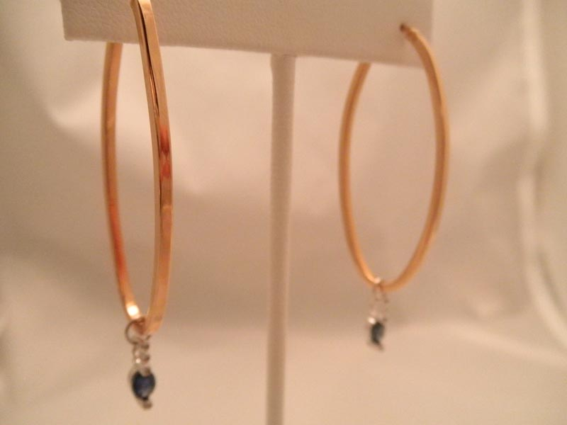 Rose Gold Hoop Earrings with Diamond & Diamond & Gemstone Charms