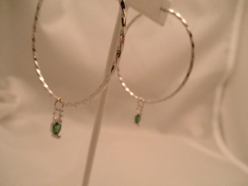 Twisted White Gold Hoops with Diamond & Gemstone Earring Charms