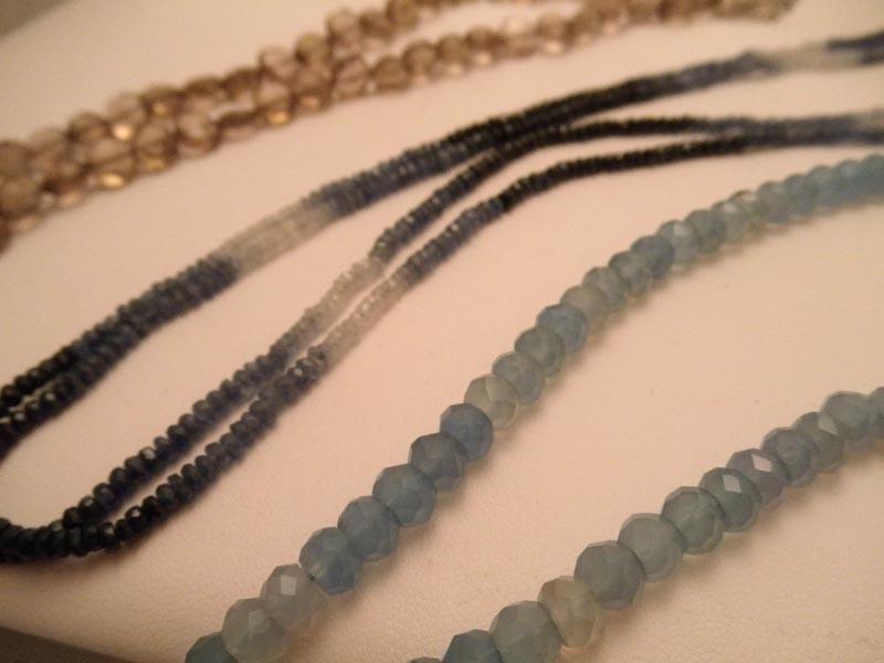 Smokey Quartz, Sapphire & Chalcedony Strands