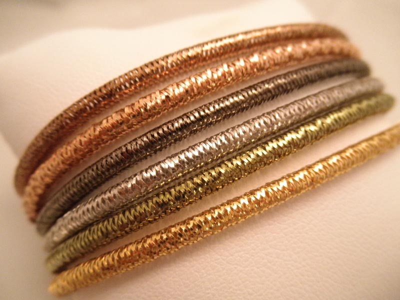 14K Colored Gold Mesh Stretch Bracelets