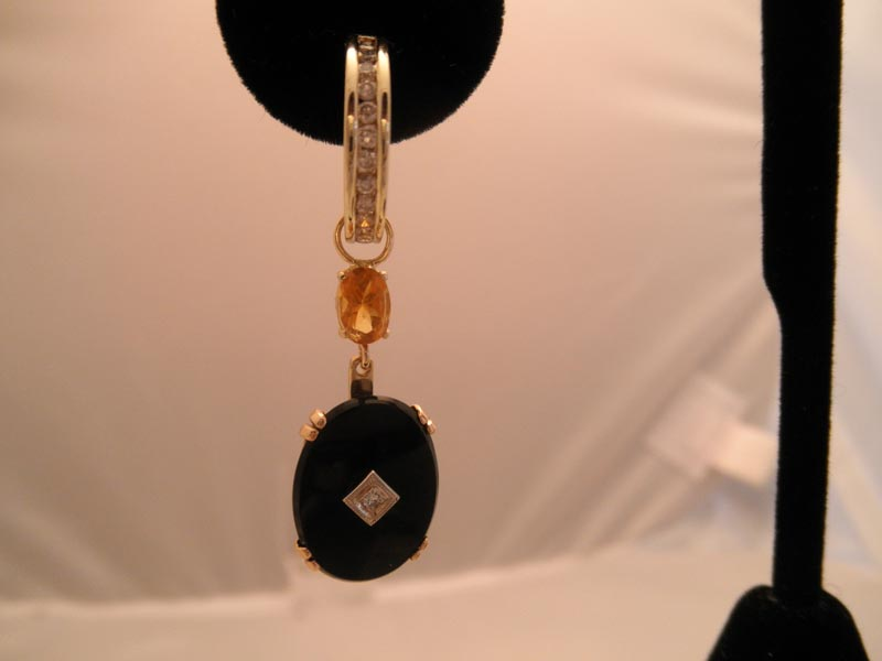 Onyx & Citrine Earring Charms on Huggies