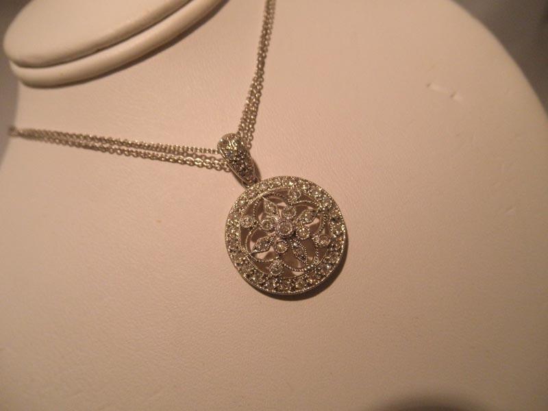 14K White Gold Filigree Diamond Pendant with 2-strand Chain