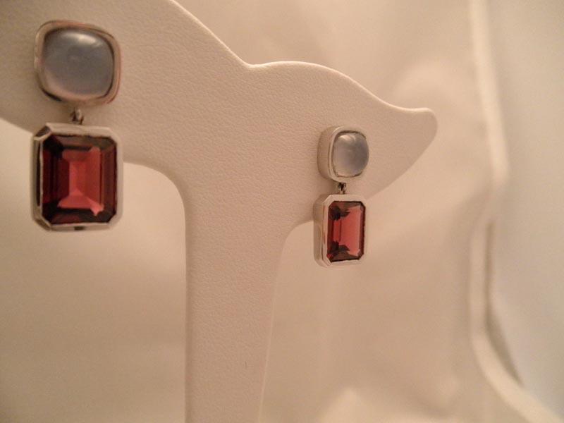 14K White Gold Chalcedony & Rhodolite Garnet Earrings