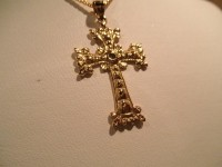14K Yellow Gold Cross with Green Diamond