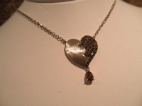 'Broken Heart' Chocolate & Champagne Diamond Pendant