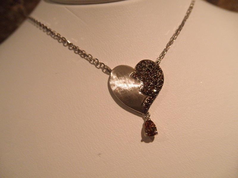 'Broken Heart' Chocolate & Champagne Diamond Pendant
