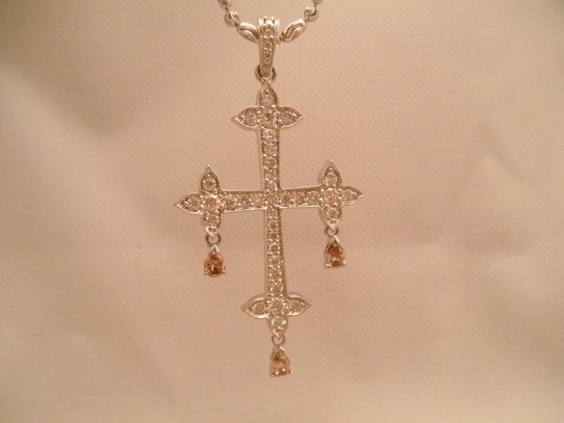Diamond Cross with Champagne Diamond Dangles