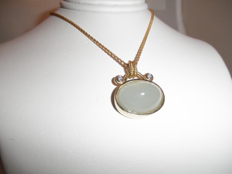 Cabachon Aquamarine & Diamond Pendant