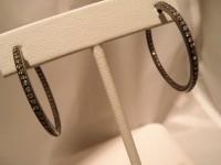 Black Rhodium with White Diamond Hoop Earrings