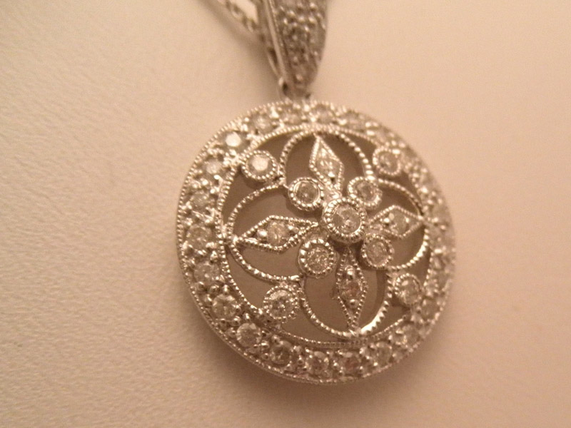 Filigree Diamond Pendant on Double-strand Chain