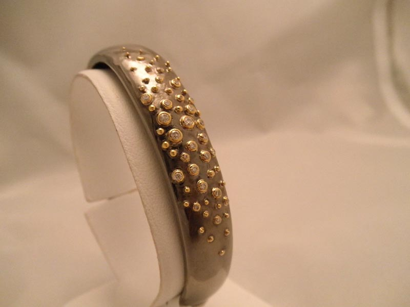 Oxidized Sterling & Diamond Bangle
