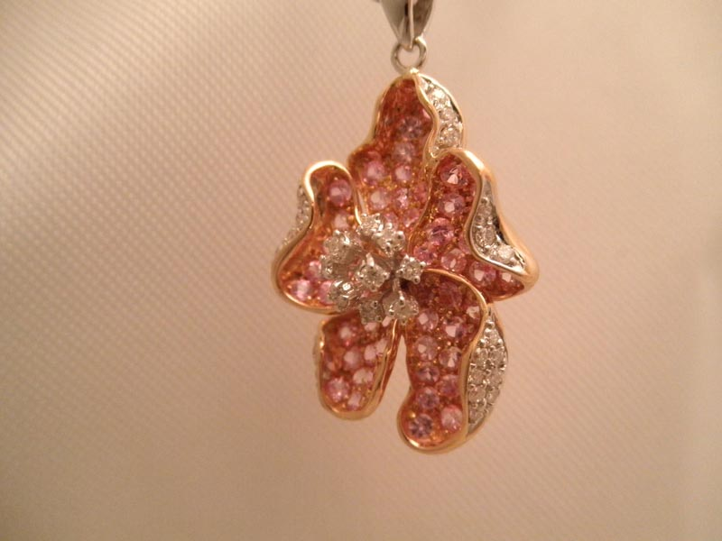 Pink Sapphire & Diamond Pendant in Rose Gold