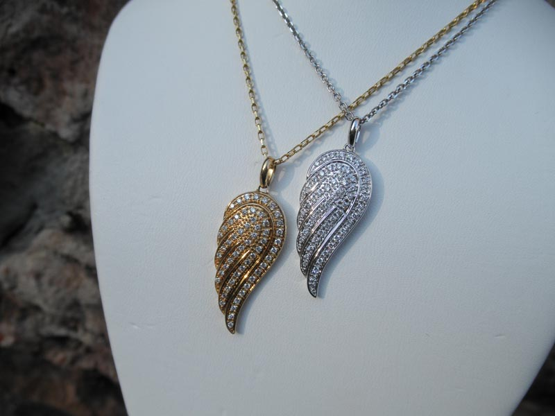 Yellow & White Gold Diamond Angel Wings