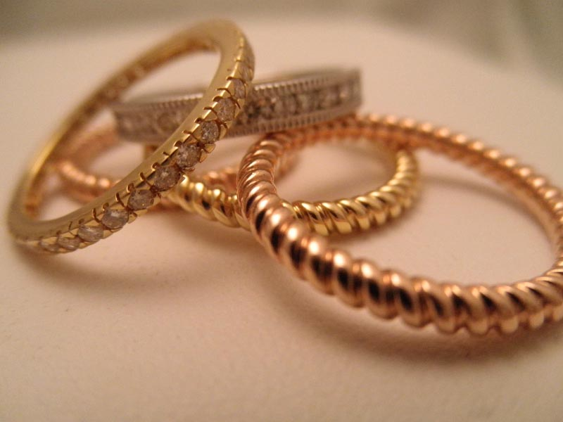 Diamond & Gold Stacking Rings