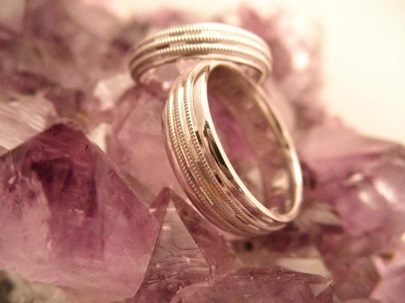 Wedding Bands - White Gold with 3 Bands of Milgrain