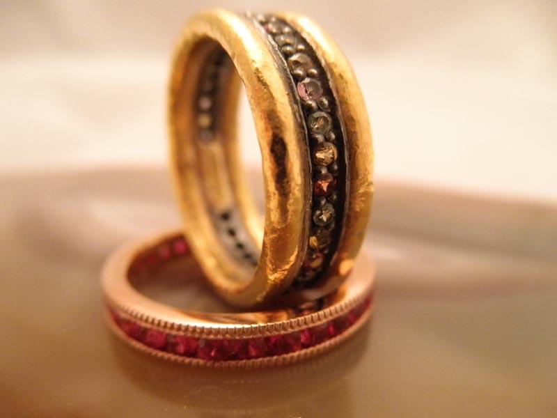 Sapphire & Gold Bands