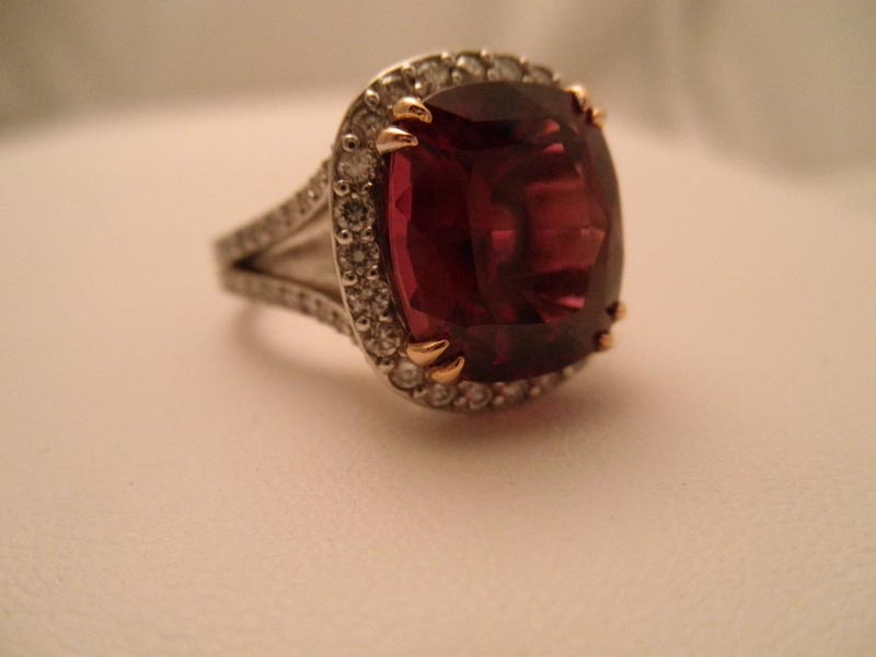 Cushion Cut Rhodolite Garnet & Diamond Ring