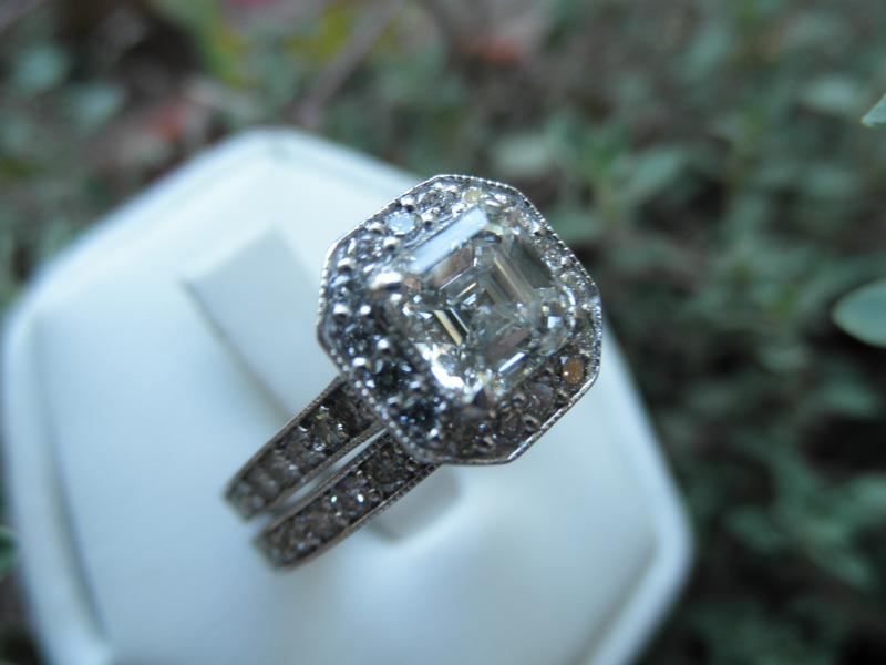 Asscher Cut Diamond Engagement Ring with Diamond Band