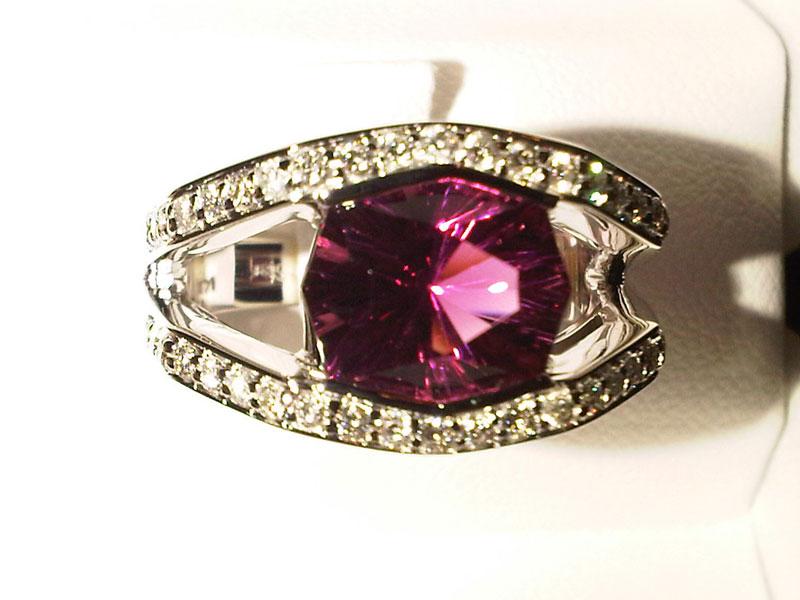 Fancy Pink Tourmaline & Diamond Ring