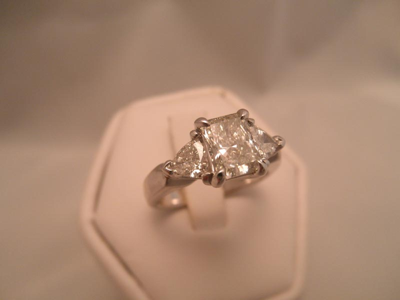Radiant & Trillion Cut Diamond Engagement Ring