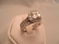 Asscher Cut Diamond Engagement Ring with Matching Wedding Band